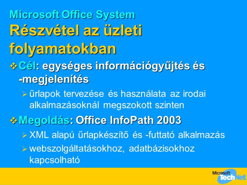 Microsoft Office System Részvétel az üzleti folyamatokban