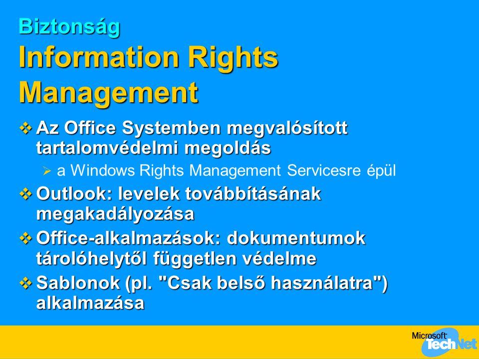 Biztonság Information Rights Management