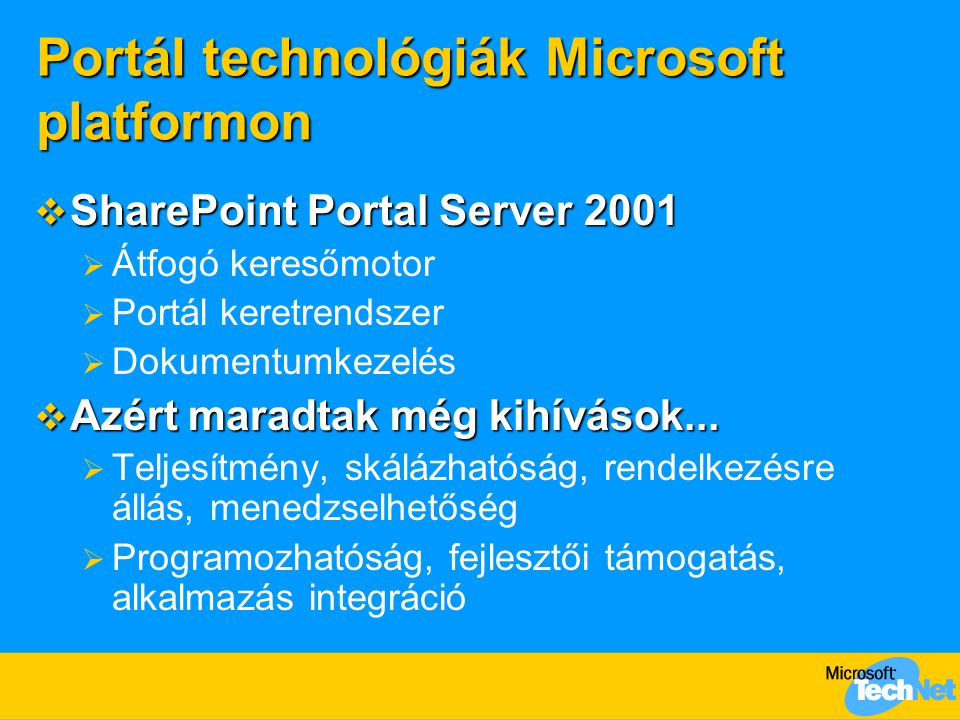 Portál technológiák Microsoft platformon