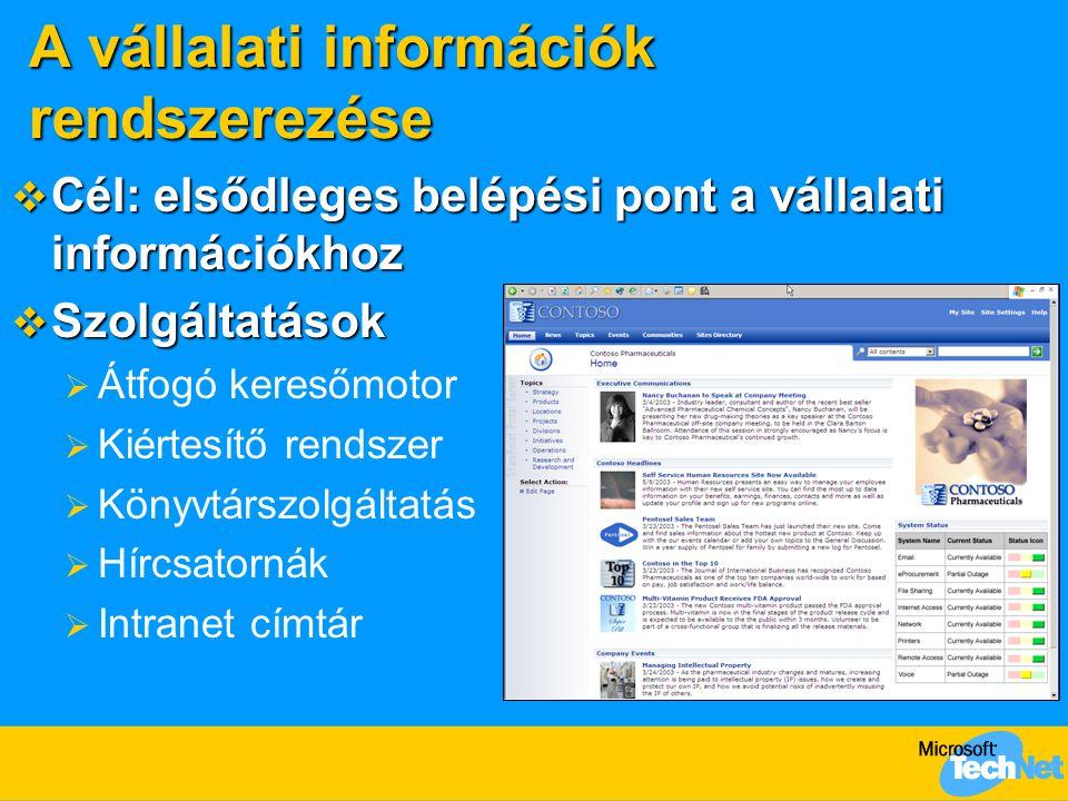 A vállalati információk rendszerezése