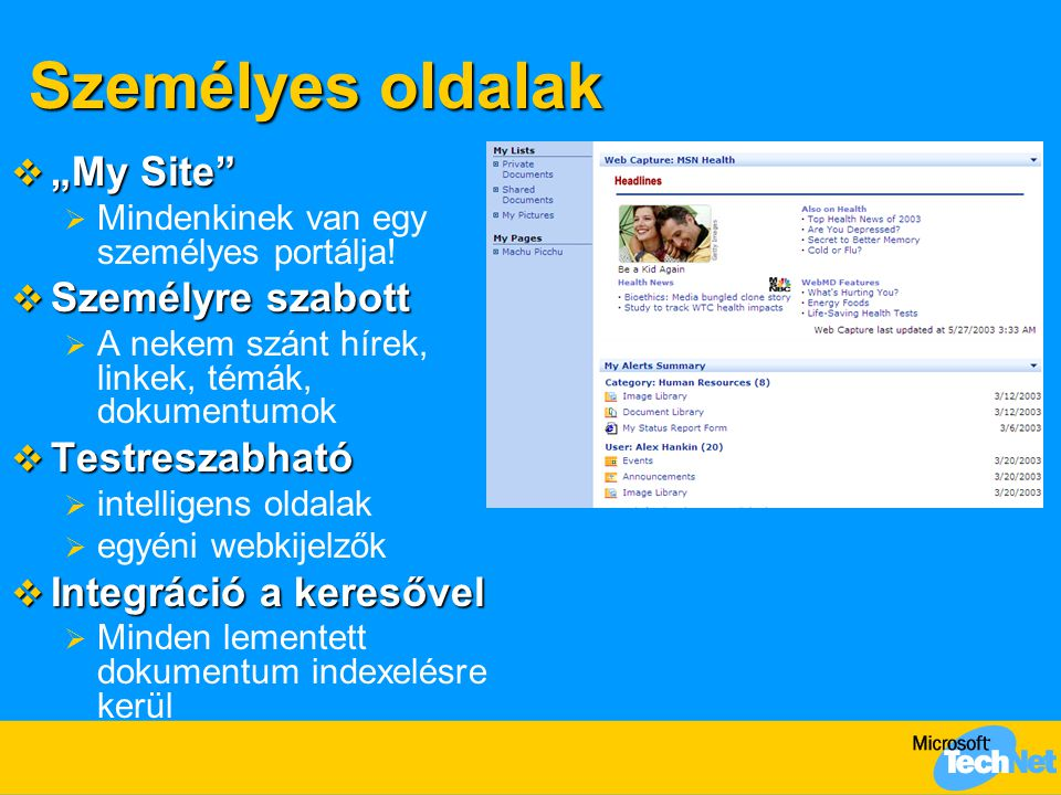"""Személyes oldalak """"My Site Személyre szabott Testreszabható"""