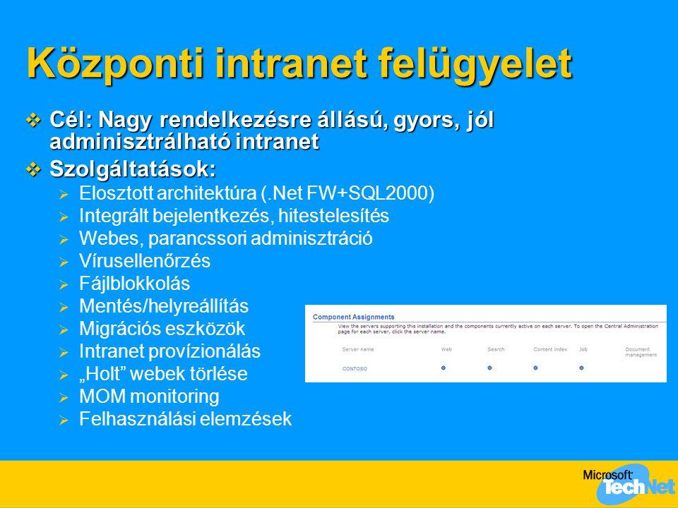 Központi intranet felügyelet