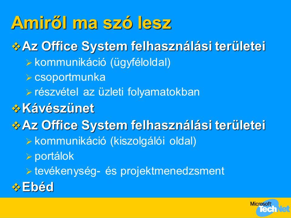 Amiről ma szó lesz Az Office System felhasználási területei Kávészünet