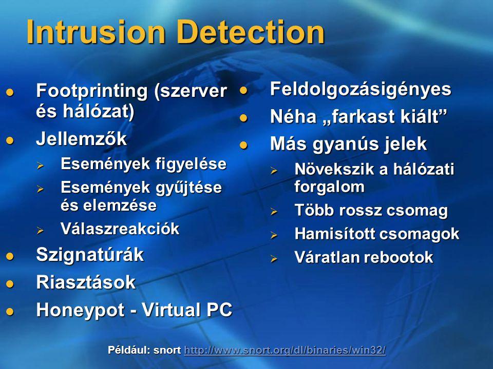 Intrusion Detection Feldolgozásigényes