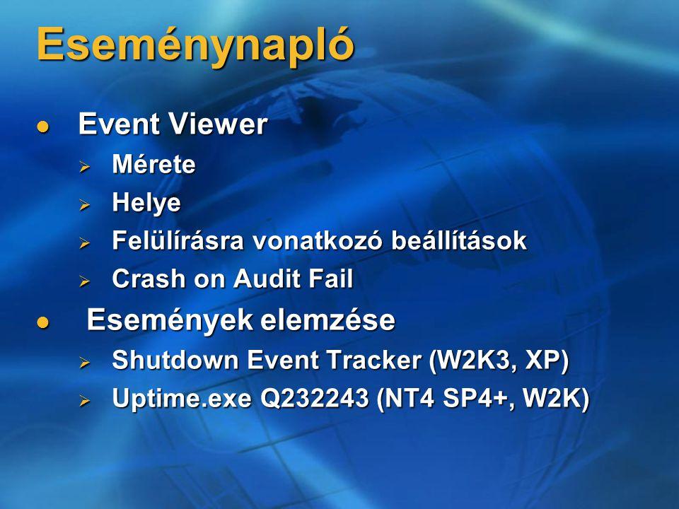 Eseménynapló Event Viewer Események elemzése Mérete Helye