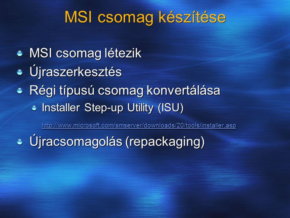 MSI csomag készítése MSI csomag létezik Újraszerkesztés