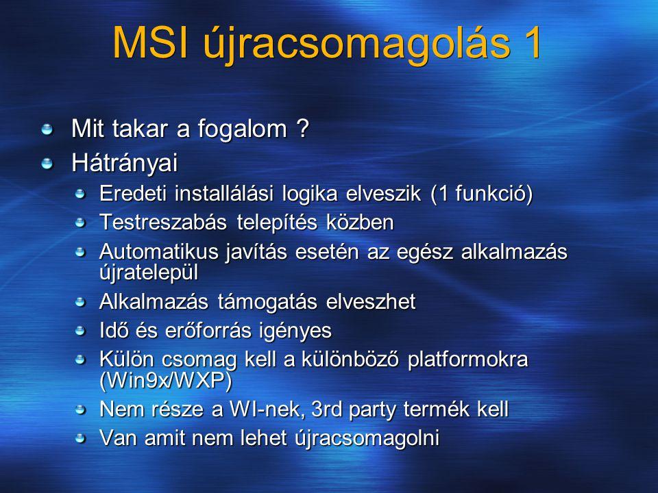 MSI újracsomagolás 1 Mit takar a fogalom Hátrányai