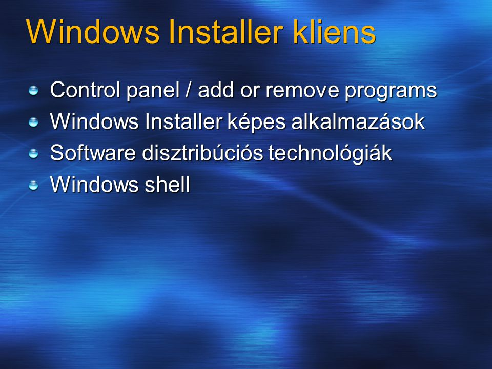 Windows Installer kliens