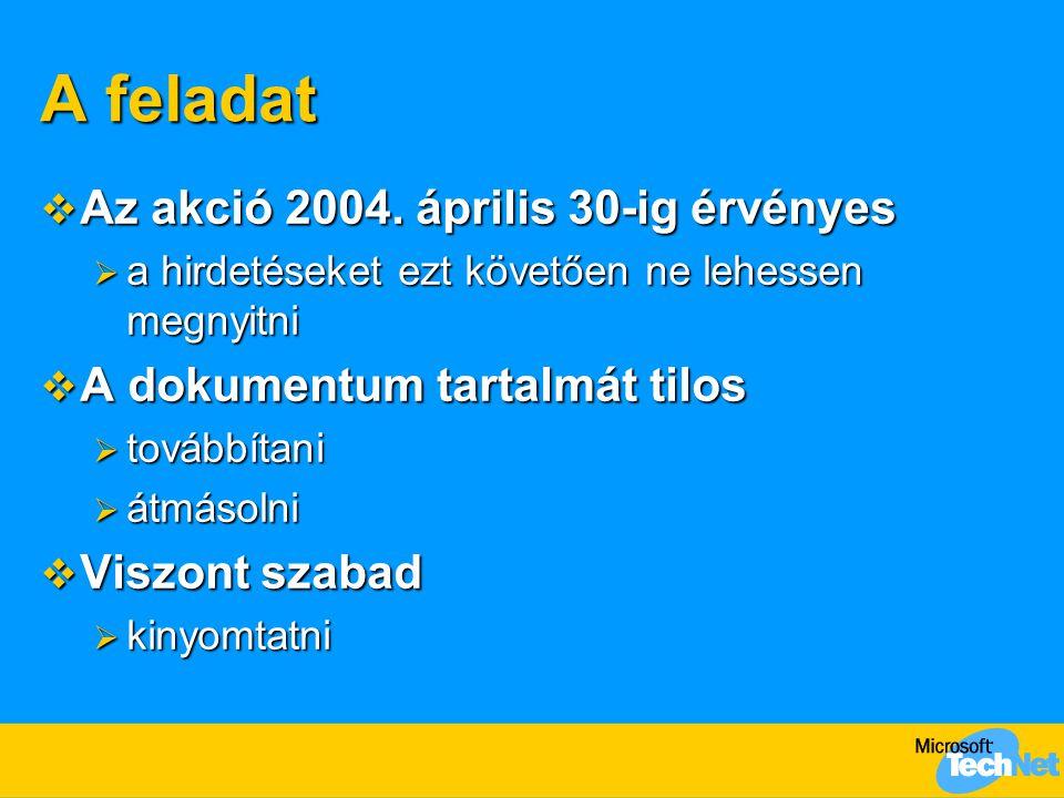 A feladat Az akció 2004. április 30-ig érvényes