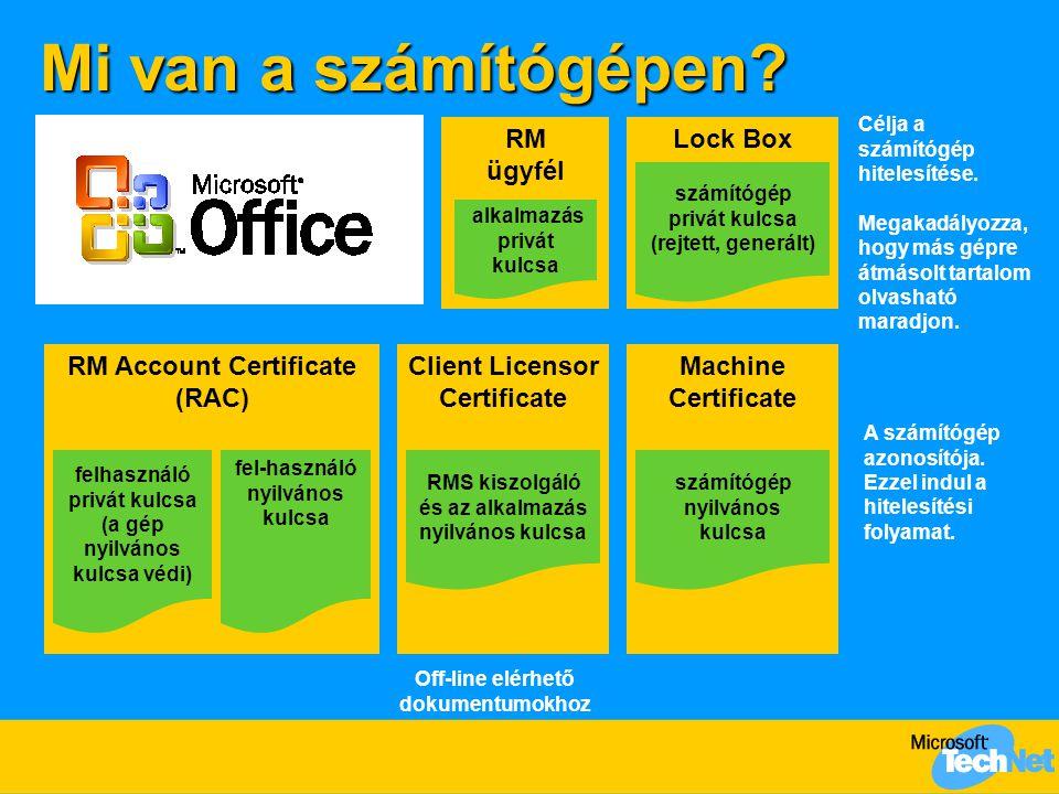 Mi van a számítógépen RM ügyfél Lock Box RM Account Certificate (RAC)