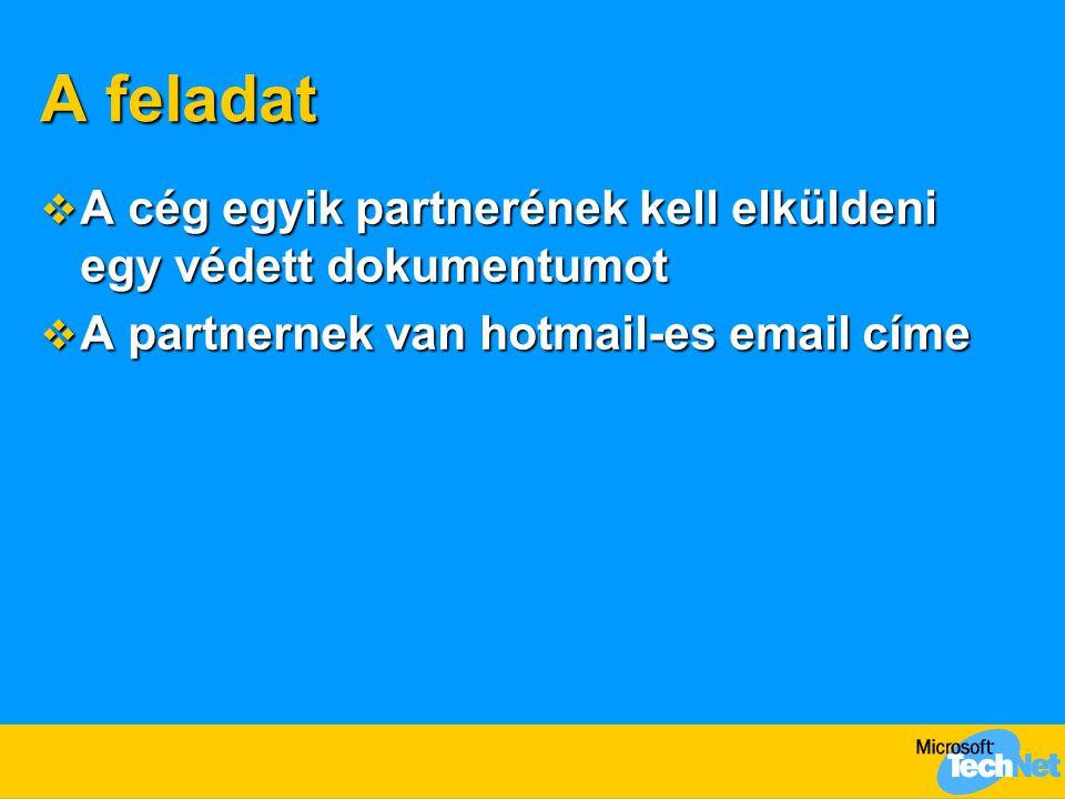 A feladat A cég egyik partnerének kell elküldeni egy védett dokumentumot.