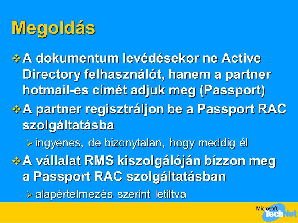 Megoldás A dokumentum levédésekor ne Active Directory felhasználót, hanem a partner hotmail-es címét adjuk meg (Passport)