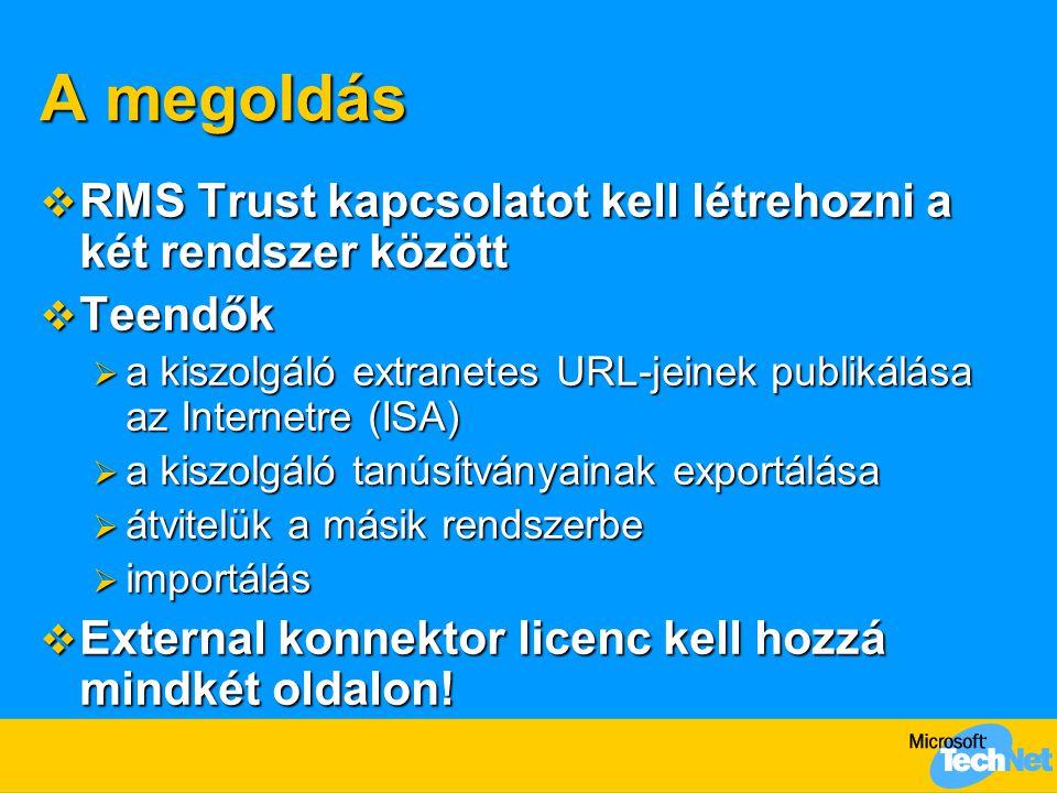 A megoldás RMS Trust kapcsolatot kell létrehozni a két rendszer között