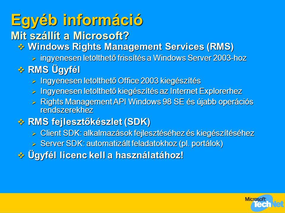 Egyéb információ Mit szállít a Microsoft