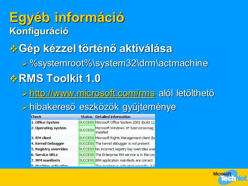 Egyéb információ Konfiguráció