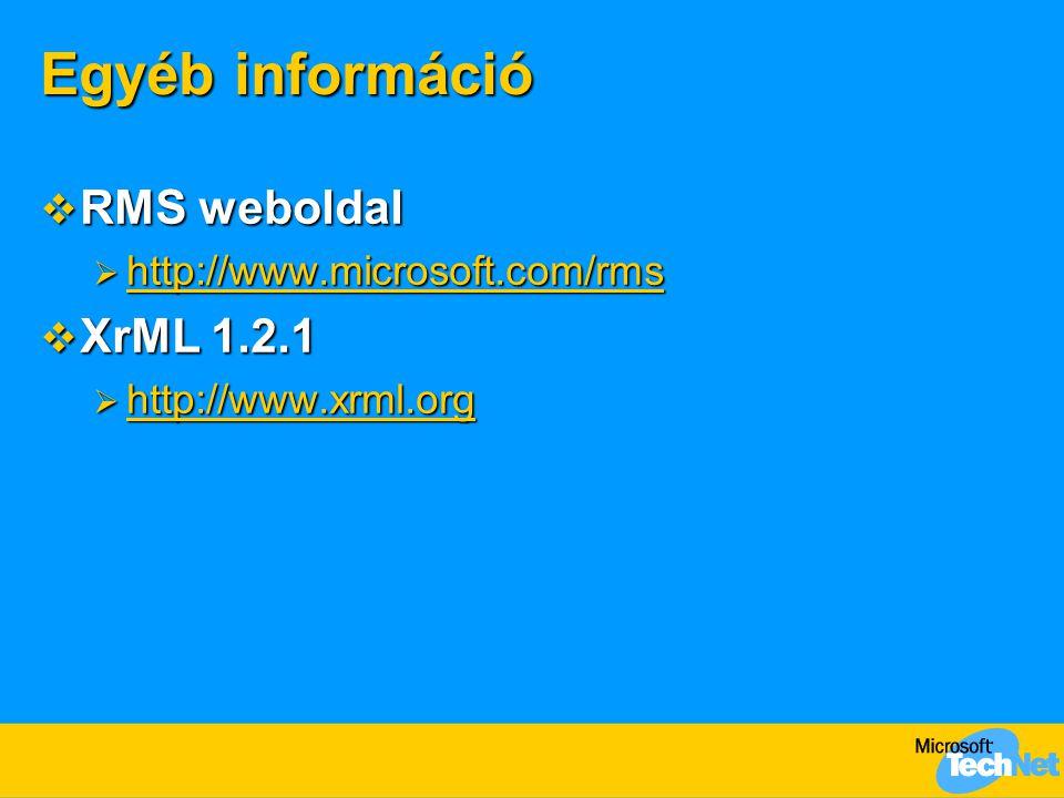 Egyéb információ RMS weboldal XrML 1.2.1 http://www.microsoft.com/rms