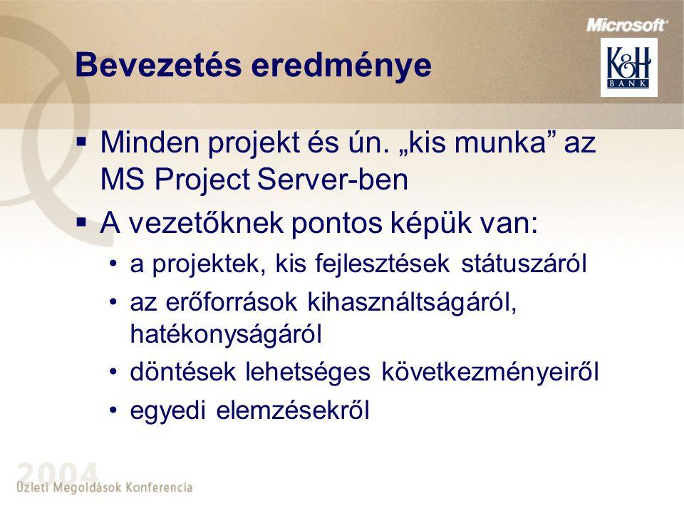 """Bevezetés eredménye Minden projekt és ún. """"kis munka az MS Project Server-ben. A vezetőknek pontos képük van:"""