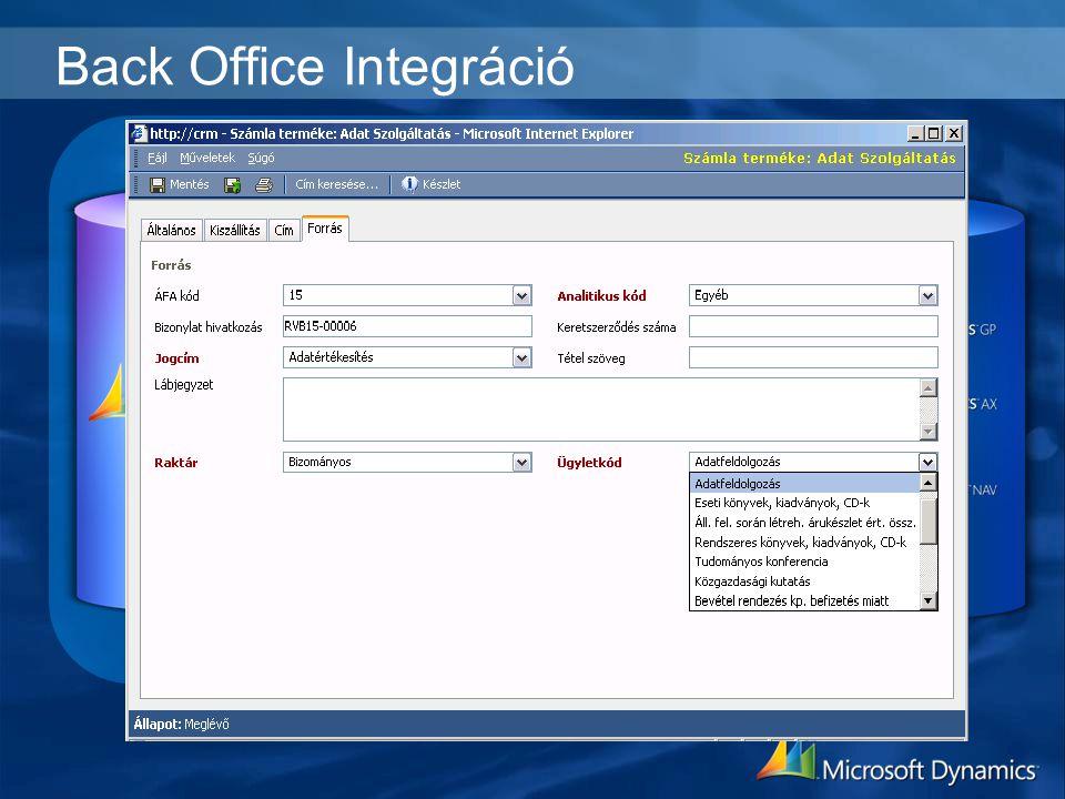 Back Office Integráció