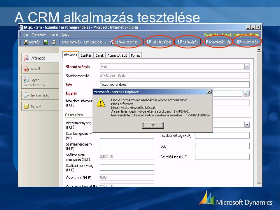 A CRM alkalmazás tesztelése