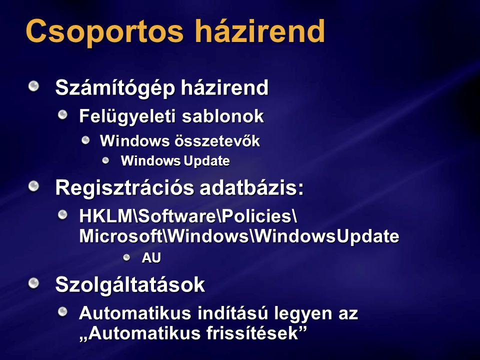 Csoportos házirend Számítógép házirend Regisztrációs adatbázis: