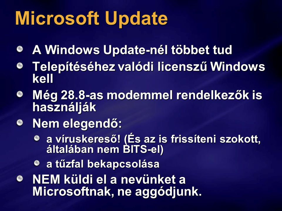 Microsoft Update A Windows Update-nél többet tud