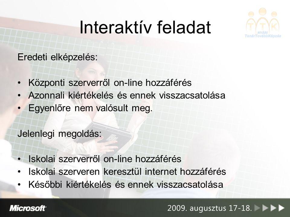 Interaktív feladat Eredeti elképzelés: