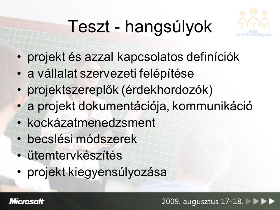Teszt - hangsúlyok projekt és azzal kapcsolatos definíciók