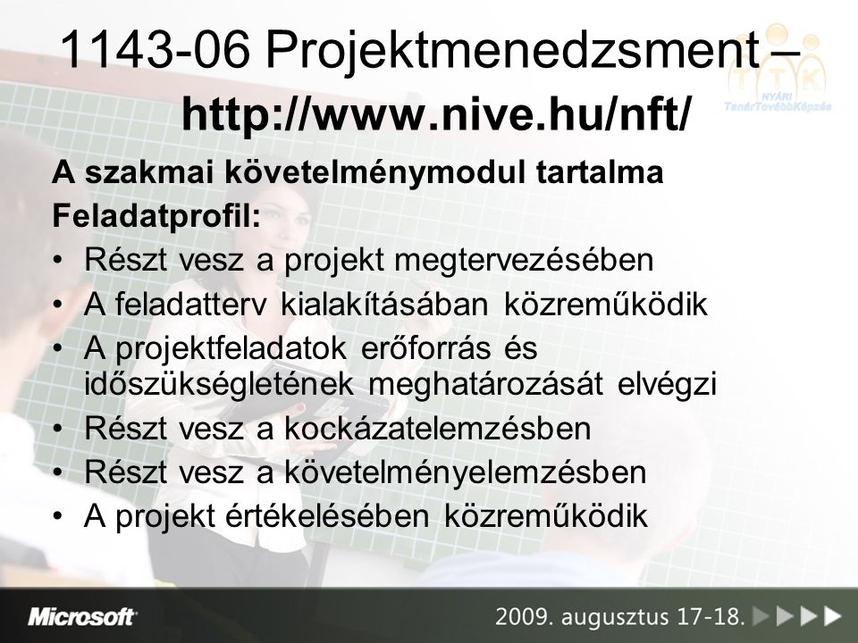 1143-06 Projektmenedzsment – http://www.nive.hu/nft/