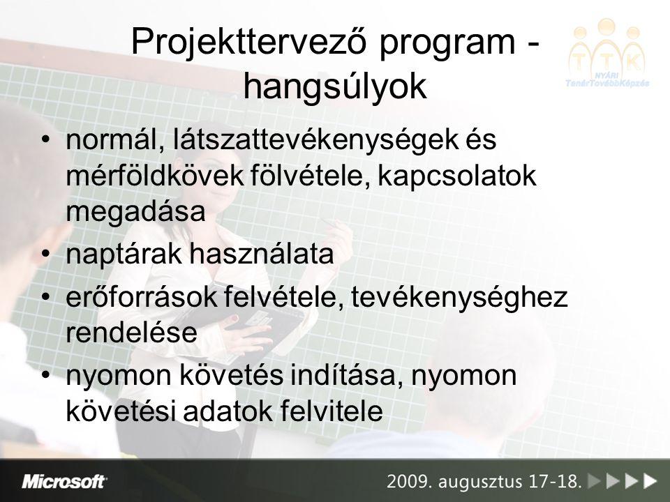 Projekttervező program - hangsúlyok