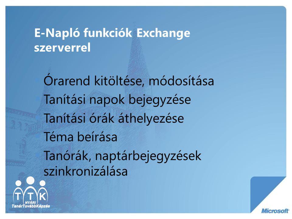 E-Napló funkciók Exchange szerverrel