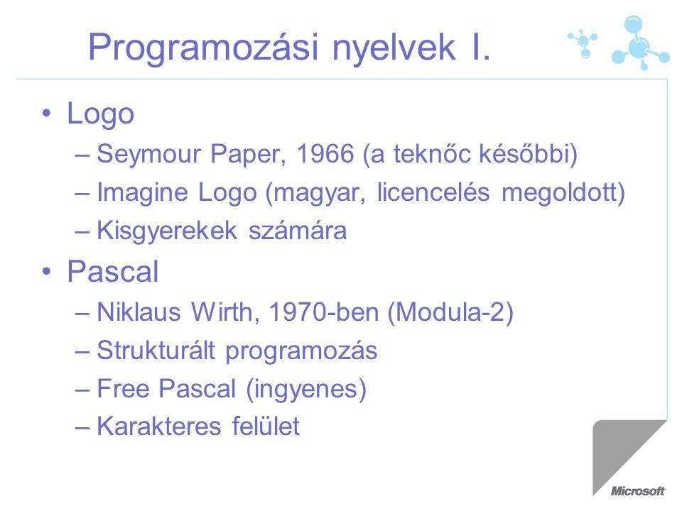 Programozási nyelvek I.