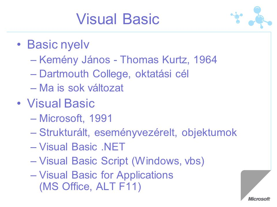 Visual Basic Basic nyelv Visual Basic