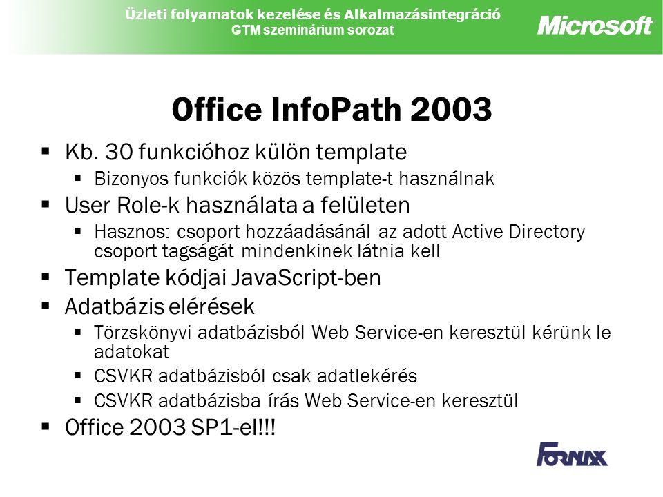 Office InfoPath 2003 Kb. 30 funkcióhoz külön template