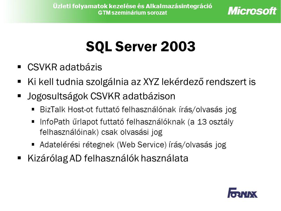 SQL Server 2003 CSVKR adatbázis