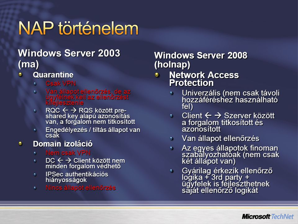NAP történelem Windows Server 2003 (ma) Windows Server 2008 (holnap)