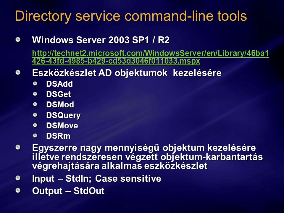 Directory service command-line tools