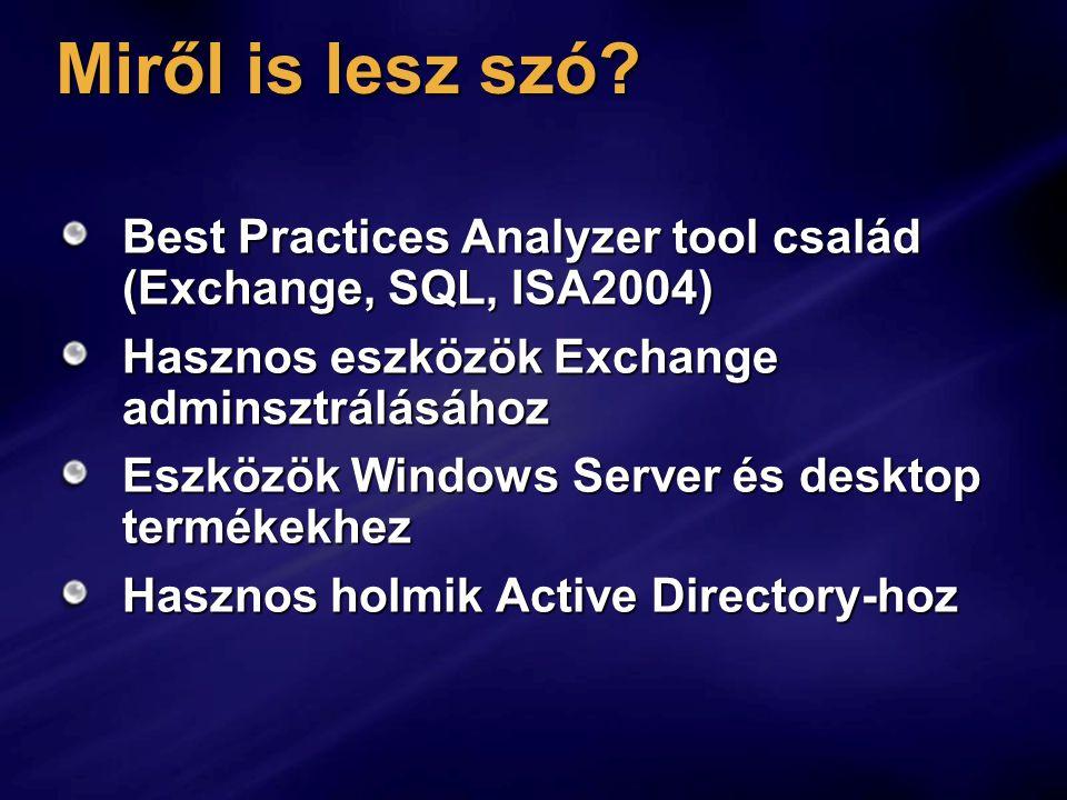 Miről is lesz szó Best Practices Analyzer tool család (Exchange, SQL, ISA2004) Hasznos eszközök Exchange adminsztrálásához.
