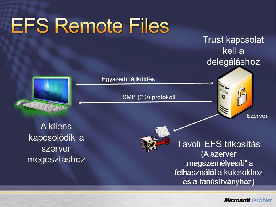 EFS Remote Files Trust kapcsolat kell a delegáláshoz