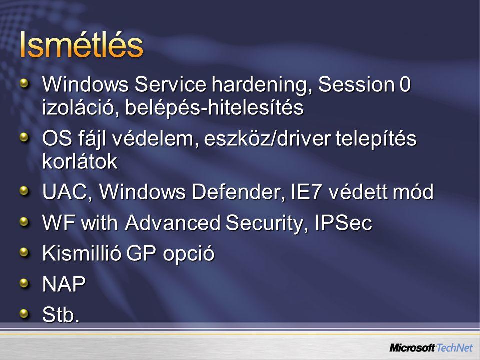 Ismétlés Windows Service hardening, Session 0 izoláció, belépés-hitelesítés. OS fájl védelem, eszköz/driver telepítés korlátok.