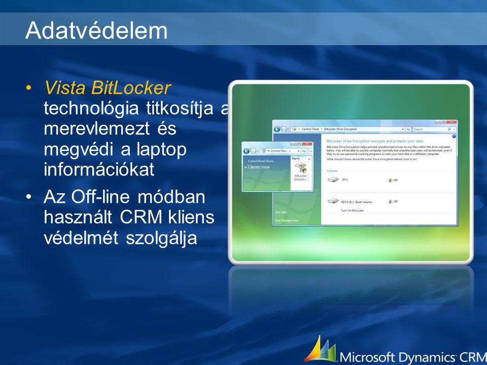 Adatvédelem Vista BitLocker technológia titkosítja a merevlemezt és megvédi a laptop információkat.