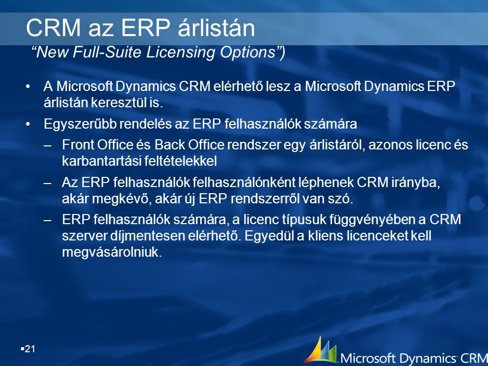 CRM az ERP árlistán New Full-Suite Licensing Options )