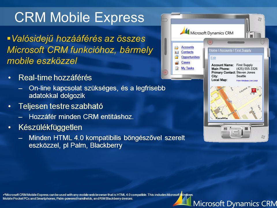 4/4/2017 2:24 PM CRM Mobile Express. Valósidejű hozááférés az összes Microsoft CRM funkcióhoz, bármely mobile eszközzel.