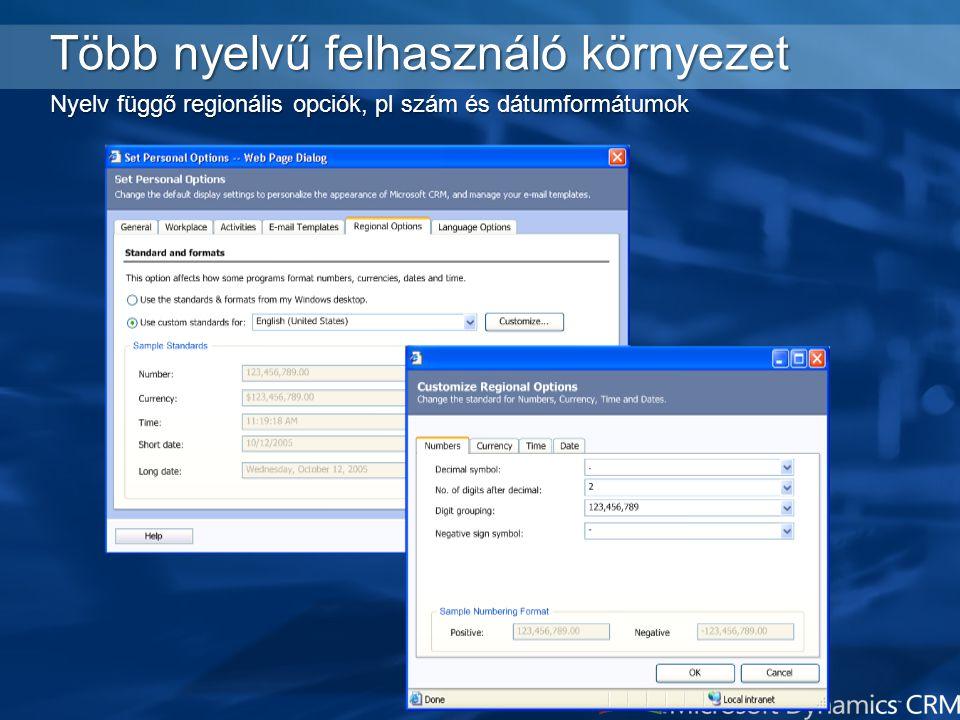 4/4/2017 2:24 PM Több nyelvű felhasználó környezet Nyelv függő regionális opciók, pl szám és dátumformátumok.