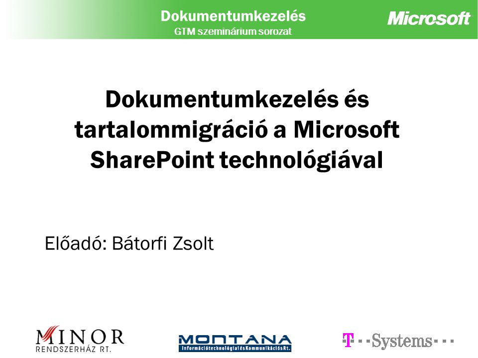 Dokumentumkezelés és tartalommigráció a Microsoft SharePoint technológiával