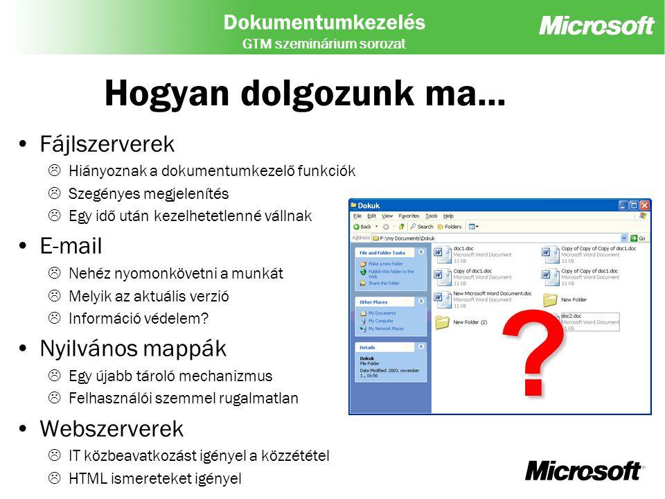 Hogyan dolgozunk ma... Fájlszerverek E-mail Nyilvános mappák