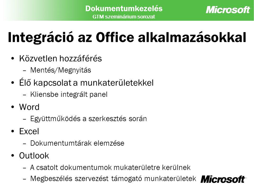Integráció az Office alkalmazásokkal