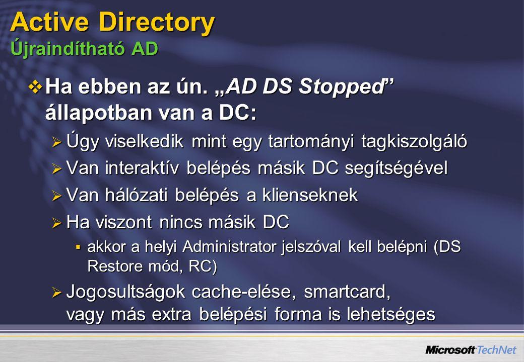 Active Directory Újraindítható AD