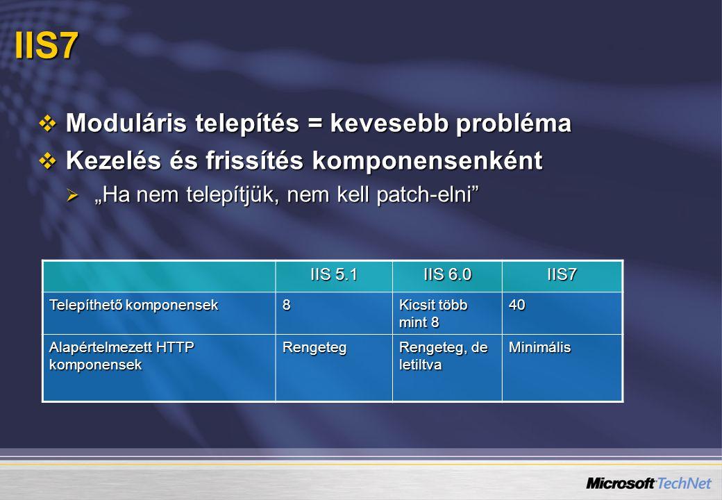 IIS7 Moduláris telepítés = kevesebb probléma