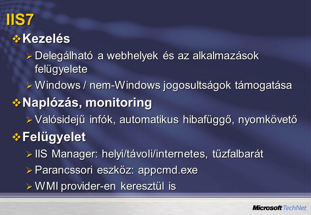 IIS7 Kezelés Naplózás, monitoring Felügyelet