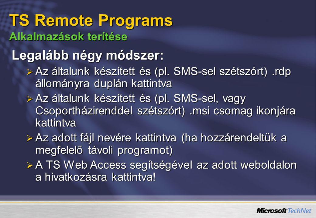 TS Remote Programs Alkalmazások terítése